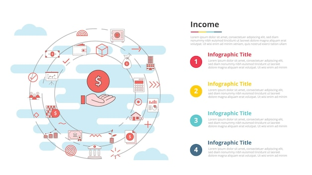 Business income concept for infographic template banner with four point list information