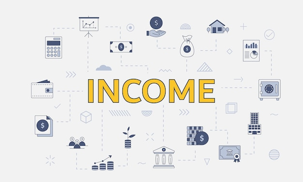 Business income concept with icon set with big word or text on center