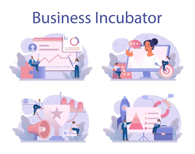 Business incubator concept set