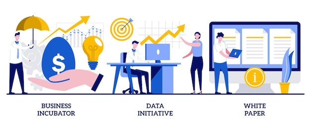 ビジネスインキュベーター、データイニシアチブ、小さな人々とのホワイトペーパーのコンセプト。スタートアップ開発抽象的なベクトルイラストセット。 ico投資ドキュメント、新製品の発売、オープンプラットフォームのメタファー。