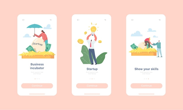 Business incubator startup mobile app page onboard screen template. tiny businesspeople characters growing start up project egg in huge nest, invention concept. cartoon people vector illustration
