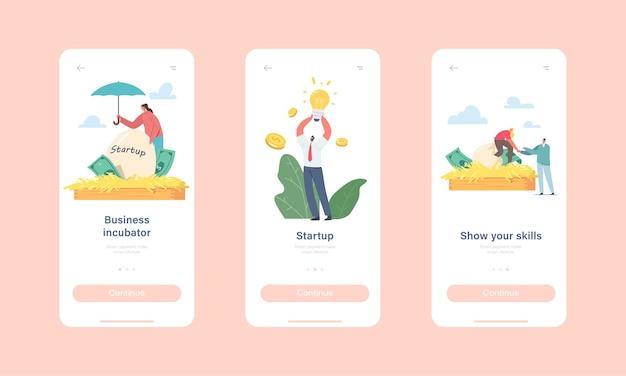 Шаблон экрана для запуска мобильного приложения бизнес-инкубатора. персонажи крошечных бизнесменов, растущие запускают проектное яйцо в огромном гнезде, концепция изобретения. мультфильм люди векторные иллюстрации