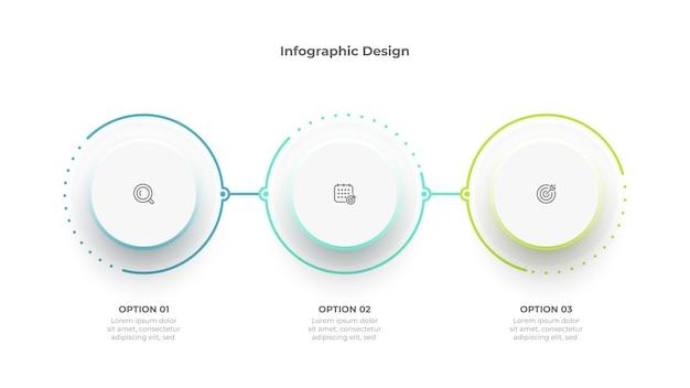 비즈니스 정보 그래픽 3 서클 디자인 템플릿에는 마케팅 아이콘이 있습니다. 벡터 일러스트 레이 션.