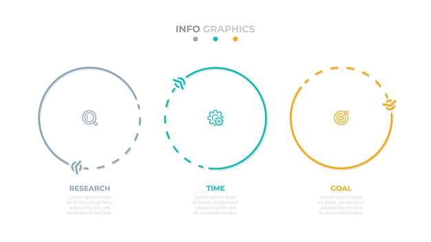 비즈니스 정보 그래픽 서클 선 템플릿입니다. 3가지 옵션 또는 단계가 있는 벡터 요소입니다.
