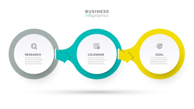 비즈니스 정보 그래픽 템플릿입니다. 화살표와 3개의 옵션 또는 단계가 있는 크리에이티브 서클 디자인 개념.