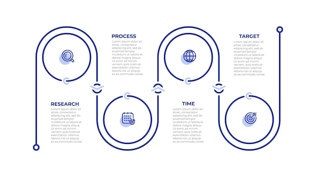 Business info graphic template. time line process with icons and 4 options. vector illustration.