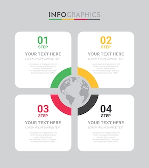 Business info-graphic template with 4 steps design.