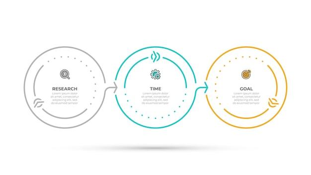 Деловая информация графическая концепция круга временной шкалы с значками и 3 вариантами