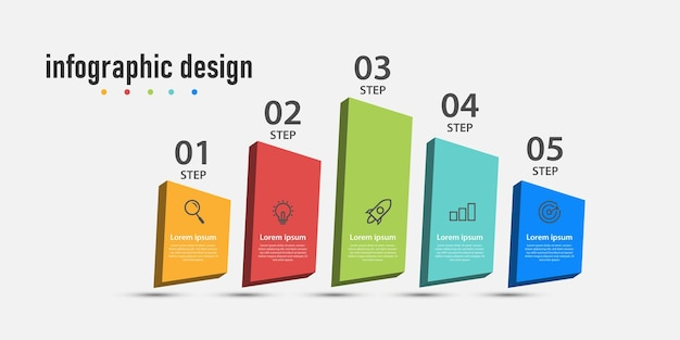 Business info graphics 3d template time line with 5 steps options can be used for work flow diagram