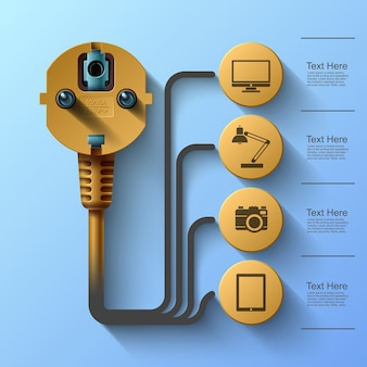 Business info graphics, electrical plug, square with information sectors under,  illustration