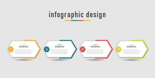 オプション番号ワークフロー4ステップのビジネス情報グラフィックテンプレート