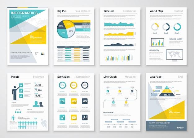 企業パンフレットのビジネス情報グラフィックスベクトル要素