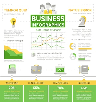 Business - info poster, brochure cover template layout with   icons, other infographic elements and filler text