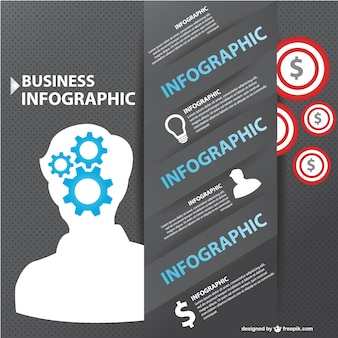 Business infograhic with man silhouette and gears