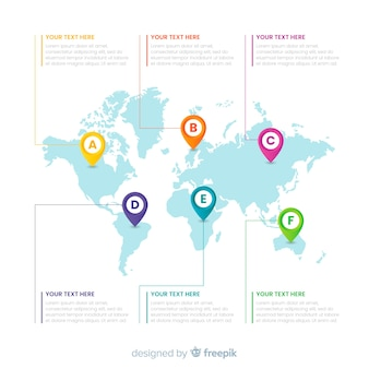 Business infograhic with world map