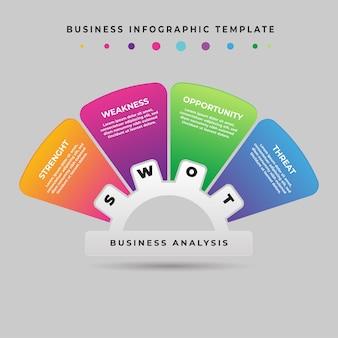 Шаблон бизнес-инфографики 4 шага анализ swot-элемента