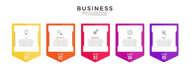 Бизнес-инфографика 5 вариантов или шагов премиум