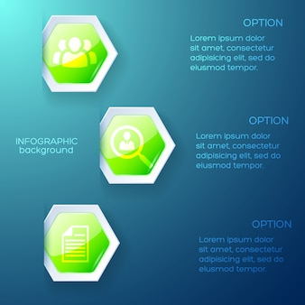 Business infographic blue layout with text columns and green paper hexagon