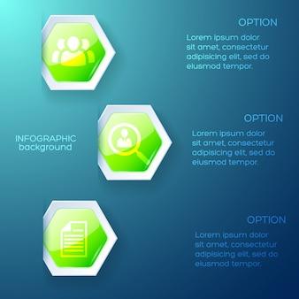 Layout blu infografica aziendale con colonne di testo ed esagono di carta verde