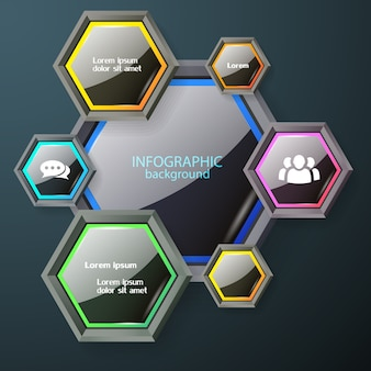 Business infographic chart concept with dark glossy hexagons with colorful edging white text and icons