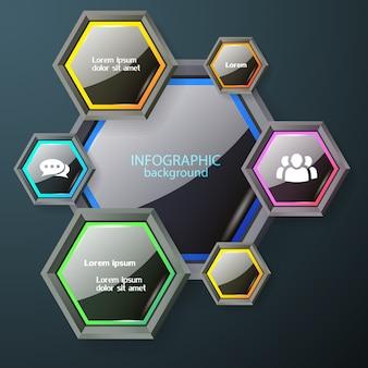 Concetto di grafico infografica aziendale con esagoni lucidi scuri con icone e testo bianco bordi colorati