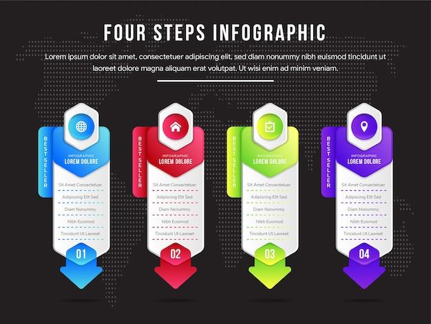 ウェブサイトのビジネスインフォグラフィック選択ボタン。ステップテンプレート、ラベルを使用して処理します。六角形と矢印の要素のデザイン。