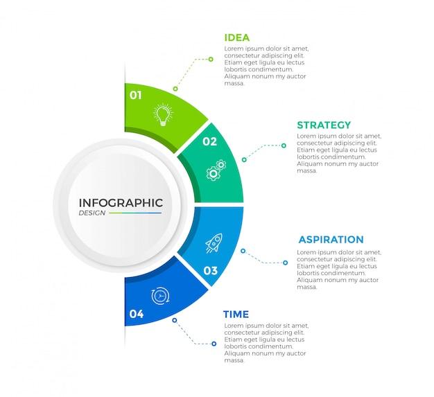 ビジネスインフォグラフィックサークルデザインアイコン4オプションまたは手順