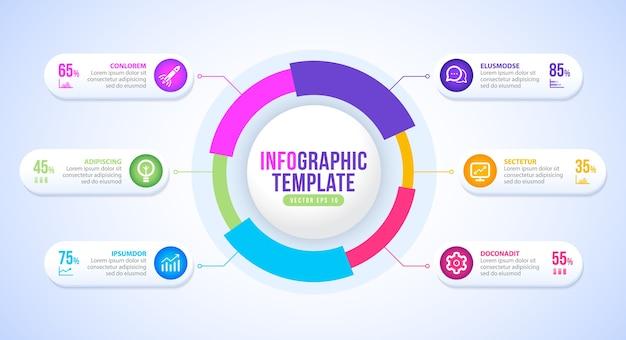 ビジネスインフォグラフィックサークルラベルプレゼンテーションテンプレートデザイン
