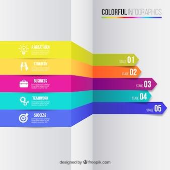 Infografica affari in stile colorato Vettore gratuito