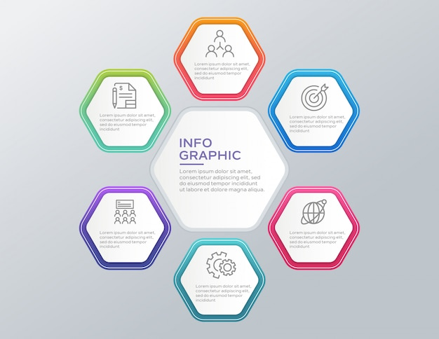 Business infographic concept with 6 options