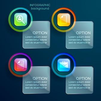 アイコンのカラフルな光沢のあるウェブ要素と分離されたテキストとガラスの正方形のビジネスインフォグラフィックの概念