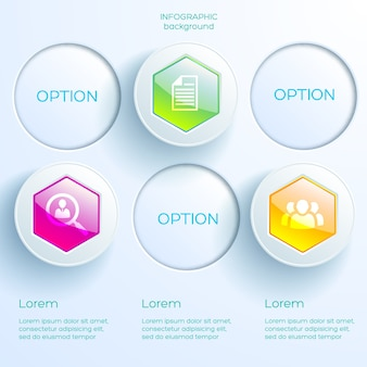 アイコンとビジネスインフォグラフィックの概念3つのオプションカラフルな光沢のある六角形と明るい円