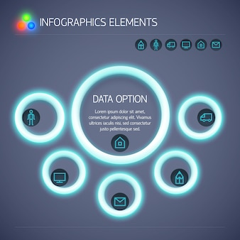 Business infographic concept with neon glowing circles text and icons isolated
