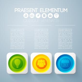 Concetto di business infografica con testo e tre pulsanti rotondi colorati in cornici quadrate e icone