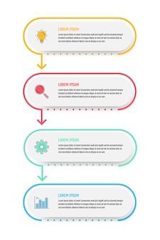 비즈니스 인포 그래픽 디자인, 4 단계 타임 라인 벡터 일러스트