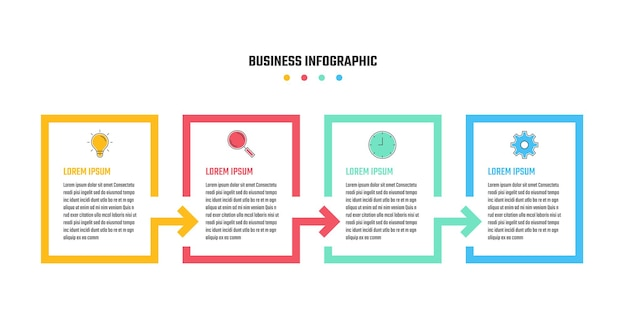 Business infographic design, 4 step timeline vector illustrations