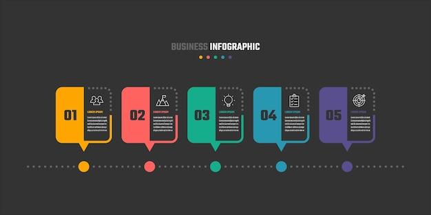 ビジネスインフォグラフィックデザイン5ステップタイムラインベクトルイラスト