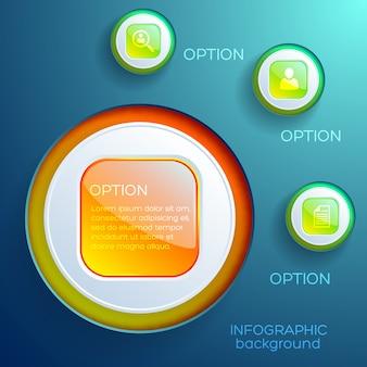 カラフルな光沢のあるウェブ要素と分離されたアイコンとビジネスインフォグラフィックデザインコンセプト