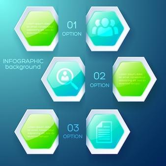 テキストアイコンと光沢のあるカラフルな六角形のビジネスインフォグラフィックデザインコンセプト