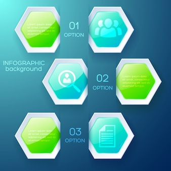 Business infographic design concept with text icons and glossy colorful hexagons