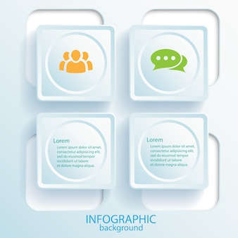 Business infographic design concept with text web buttons and icons