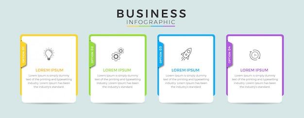 ビジネスインフォグラフィックデザインアイコン4オプションまたは手順