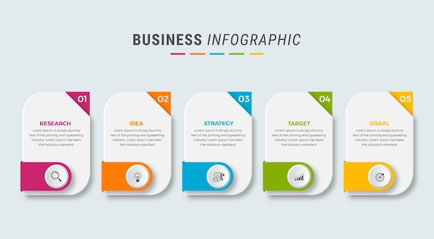 Business infographic design icons 5 options or steps