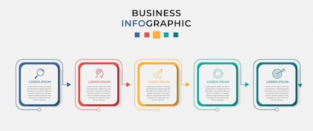 ビジネスインフォグラフィックデザインテンプレート5オプションまたは手順。