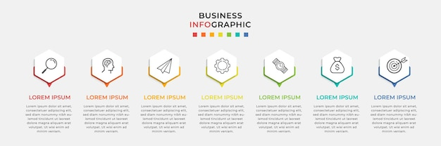 Business infographic design template and 7 seven options or steps.
