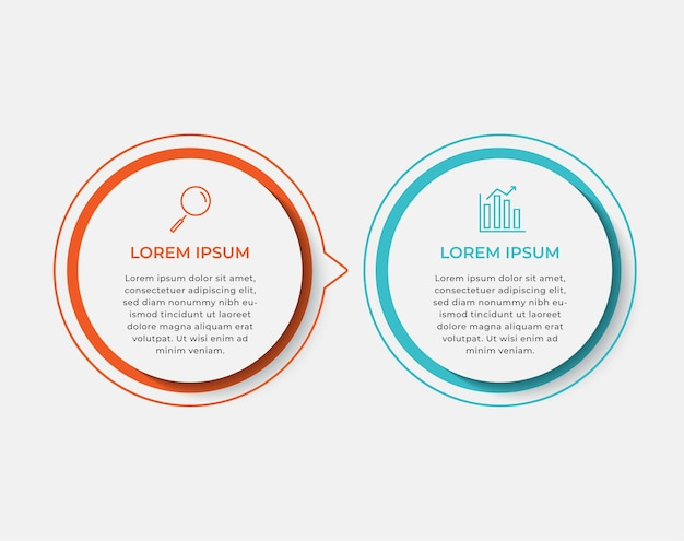 Business infographic design template vector with icons and 2 two options or steps. can be used for process diagram, presentations, workflow layout, banner, flow chart, info graph