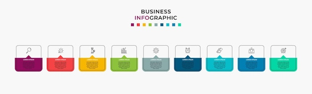 Business infographic design template vector with icons and 9 nine options or steps