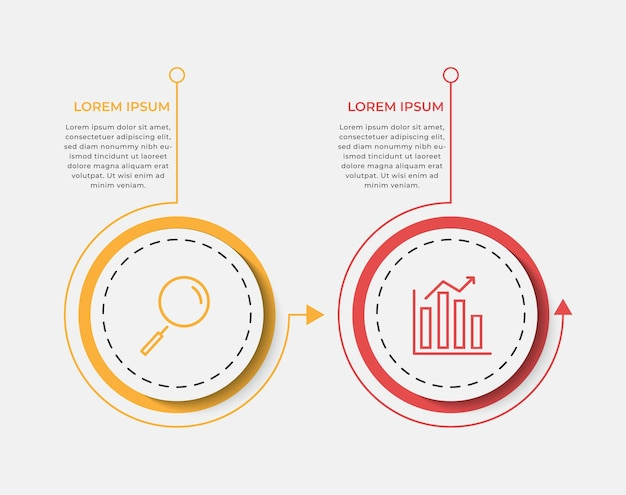 アイコンと2つの2つのオプションまたはステップを持つビジネスインフォグラフィックデザインテンプレートベクトル。