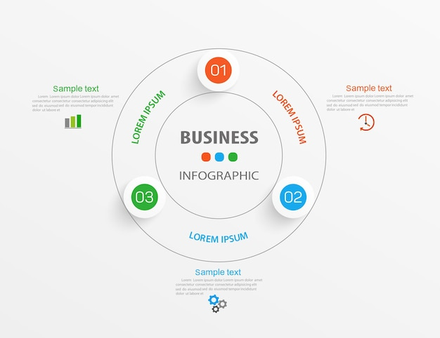 Business infographic design template with 3 options