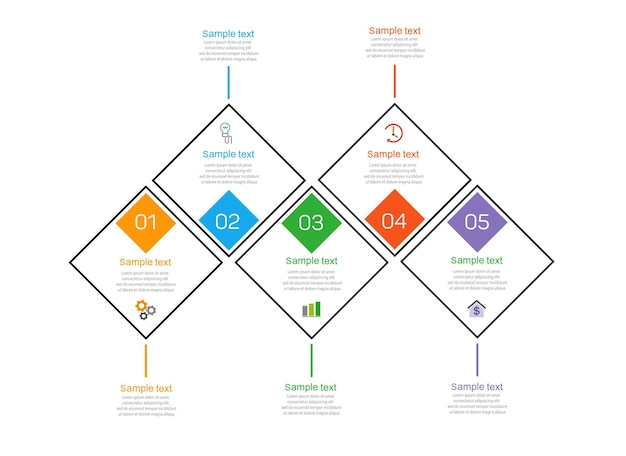 Шаблон бизнес-инфографики с 5 вариантами или шагами